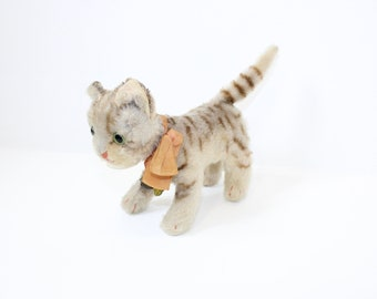 Vintage 1950s Steiff cat kitten Tapsy mohair straw filled with original ribbon bell bow and chest tag