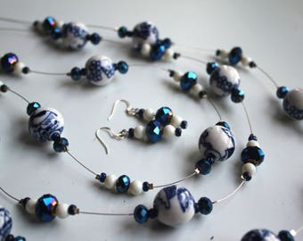 Blue and White Asian Bead Necklace and Earrings