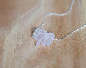 Kunzite Crystal Necklace on Sterling Silver or Rose Gold Filled Chain, Raw Rough Pale Pink Gemstone Jewelry, Oxidized Silver