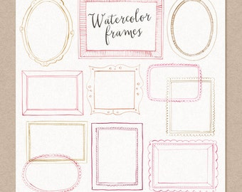 50% SALE Watercolor Cliparts Frames Pink Gold Digital cliparts for branding and scrapbooking