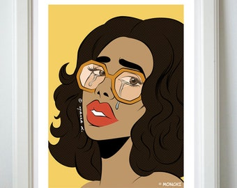 The Crying Lady yellow 70s-inspired pop art girl poster print