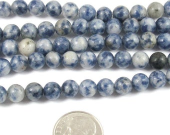 "Round Gemstone Beads-Blue Gray Denim Lapis 6mm 15"" strand (60)"