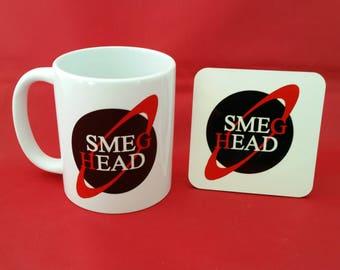 Red Dwarf Smeg Head Inspired Coffee Mug 10oz and coaster