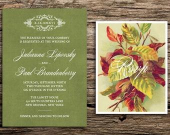 Autumn Leaves Wedding Invitation Set // Rustic Wedding Invitations Vintage Antique Green Trees Copper Fall Autumn Romantic Cards