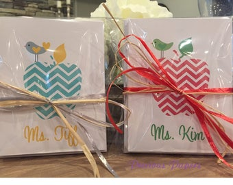 Personalized teacher note cards Chevron apple notecards several colors