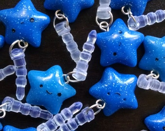 Kawaii Dark Blue Glitter Sparkle Handmade Polymer Clay Star Dust Plug Charm Cell Phone Accessory
