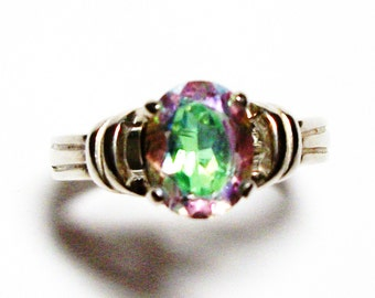"Rainbow topaz, topaz ring, pink green ring, banded topaz ring, solitaire ring, s 7 ""Heavens Halo"""