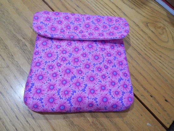 Stamparatus Portfolio Case  with Pocket Flap Cover Pink Daisy  Design Velcro Enclosure