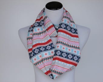 Snowflake Scarf Fair Isle Scarf Nordic Scandinavian Scarf Infinity Scarf Red Blue Pink stripes scarf warm Flannel Scarf Christmas scarf