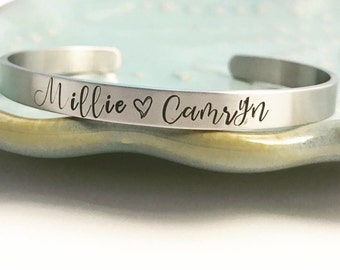 Stainless Steel ~ Custom Hand Stamped ~ Family Names ~ Coordinates ~ Cuff Bracelet ~ Personalized ~ Quote ~ Inspirational ~ Affirmation ~
