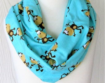 Monkey Infinity Scarf, Cute Monkey Accessory, Girls Cotton Flannel Infinity Scarf, Necklace Scarf, EclectiKIDS