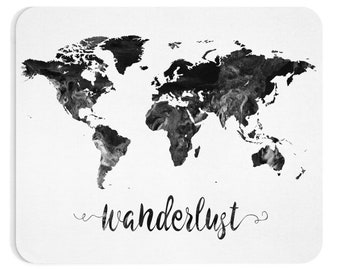 Wanderlust Black And White  Mouse Pad