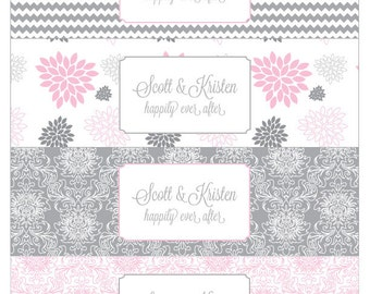Pink and Grey Dahlia Printable Water Bottle Labels