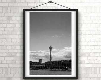 Printable photo of space needle Seattle in black and white for home, office, or bedroom. Digital download stock photo