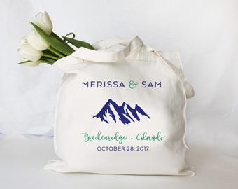 Wedding Welcome Tote, Guest Welcome Bag, Custom Wedding Tote Bag, Mountain Wedding Guest Bag, Wedding Favor