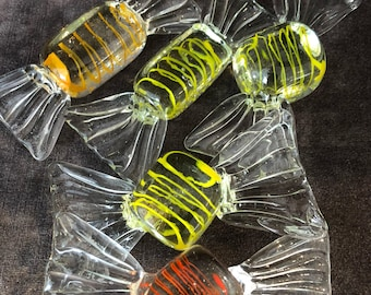 5 pieces of Large oversized vintage glass candy bon bons sweets twist candy lot