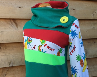 FRUITY FRESH Hoodie Sweatshirt Sweater Handmade Recycled Upcycled One of a Kind - Ladies Medium - Hidden Pockets Teal Red