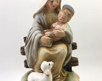 Josef Originals ceramic porcelain figure Virgin Mary with baby Jesus and lamb