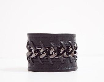 Black Leather Cuff Bracelet-Laced Gunmetal Chain, Black Chain Bracelet, Jewellery, Jewelry, Lace Cuff Bracelet, Gunmetal Bracelet, Lace Cuff