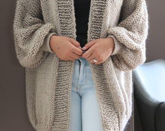 Oversize Chunky Knit Cardigan, Loose Knit Beige Gray Knit CardiganWith Silver Metallic Thread, Handknit Cardigan Oversized