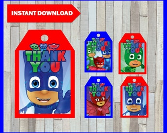 Printable Pj masks Thank you Tags instant download, Pj masks party Tags, Printable Pj masks Gift Tags