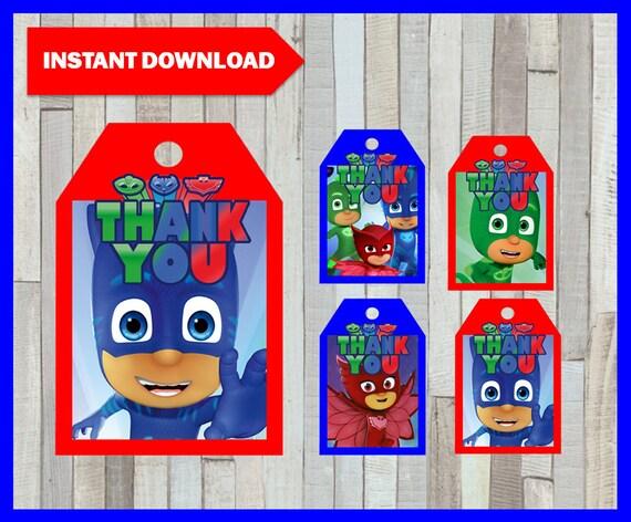 Printable Pj Masks Thank You Tags Instant Download Pj Masks