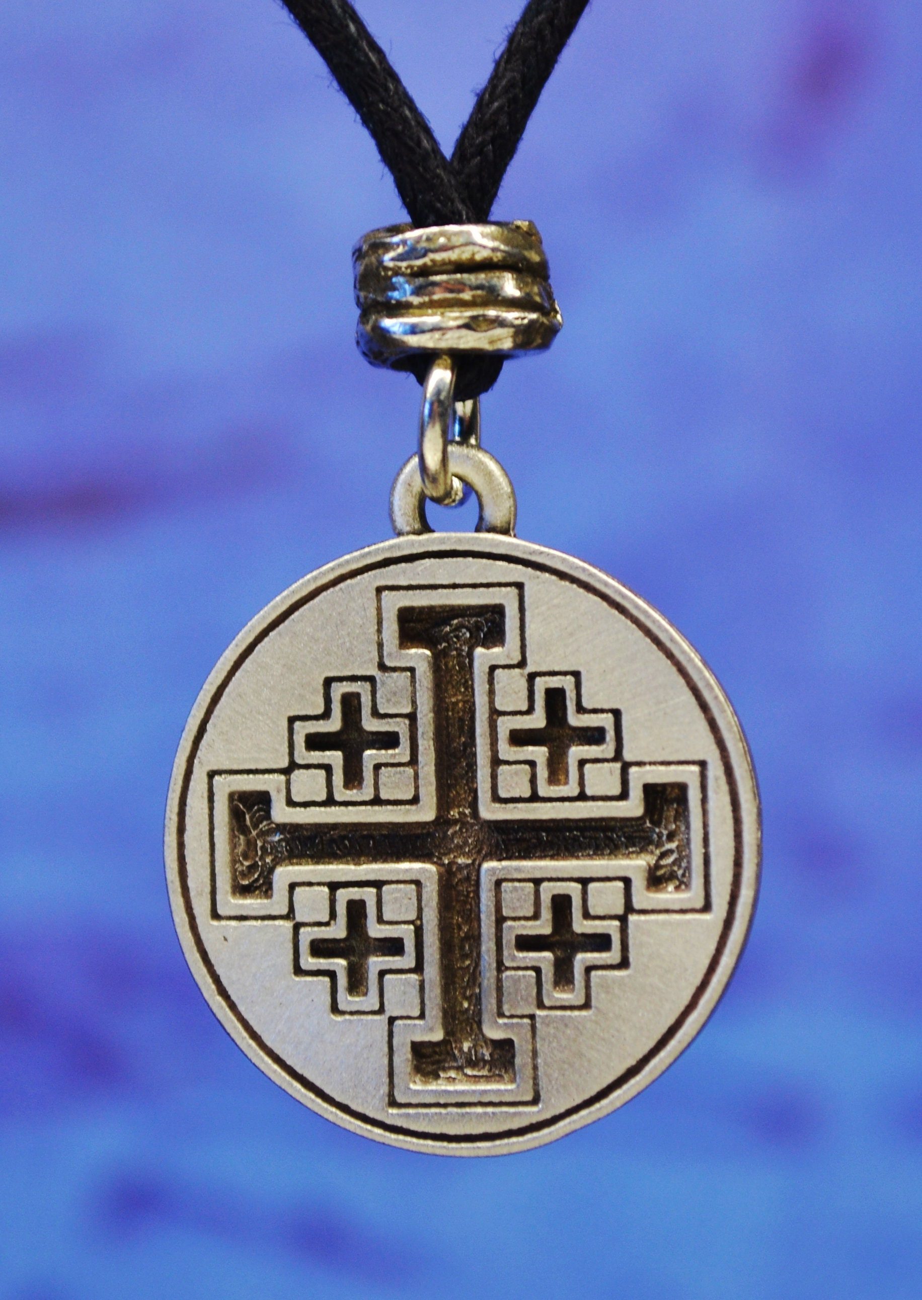 sterling item vintage cross to expand click glass full f jerusalem necklace amethyst pendant