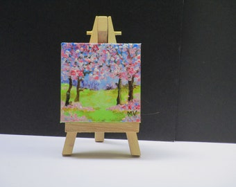 Tiny dollhouse painting. Blossom landscape in pastel colours. Acrylic painted.