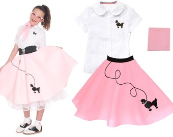 3 pc MEDIUM Child (7-9)  50's Poodle Skirt OUTFIT