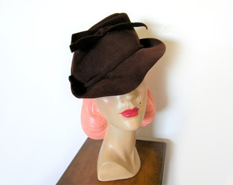Vintage 1930's Brown Wool Slouch Hat w/Bow ~