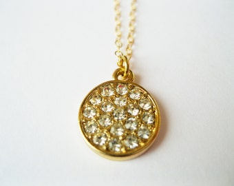 Pave disc necklace, rhinestone disc necklace, gold disc necklace, dainty disc necklace, pave necklace, dainty minimalist necklace