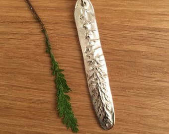 Handmade fine silver fern leaf pendant
