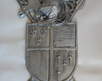 Vintage Medieval Knights Coat of Arms Wall Decor Old World Tuscan Fleur de Lis Cast Metal