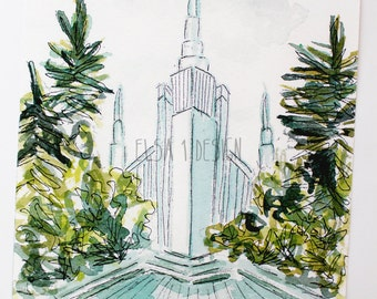 Portland Oregon LDS Temple - Watercolor Temple 5x7 Print by Elsa Ferre