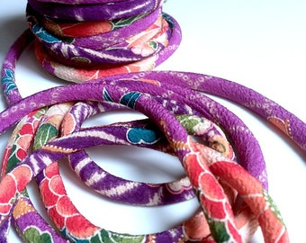 cords Japanese 8mm, Chirimen, flowers, purple (C3106-8)