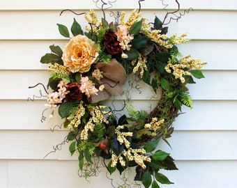 Spring wreath, summer wreaths, front door wreaths, cream wreath, farmhouse wreath, country home decor, twig wreath, rustic wreath