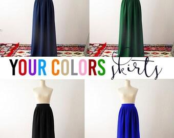 Bridesmaid skirt, Long skirt, navy skirt, chiffon skirt, yellow bridesmaids skirt, bridesmaids skirt, navy skirt, long skirt, red long skirt