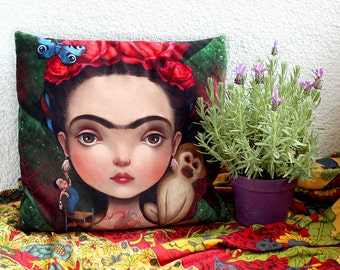 Diegito and I - art pillow | luxury velvet cushion, mexican home decor, frida pillow case, house warming gift |18X18 | by Meluseena