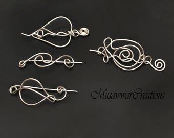 SALE! 4 shawl pins ,High quality ,Silver shawl pins,silver wire scarf pin