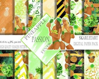 Beach Fashion Paper Summer Paper Pack Girls Summer Clip Art Beach Clipart Fashion Clipart Tropical Pineapple Beach Party Sunglasses