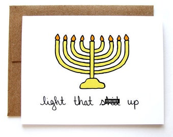 Funny hanukkah card etsy funny hanukkah card menorah card light that sh t up mature m4hsunfo