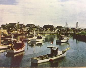 Vintage ME Postcard  Perkins Cove and Bridge Ogunquit Maine