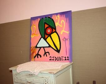 Abstract Artwork by Dann Bekk #Crazy Bird#  50cm x  50cm