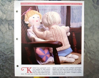 Lacy Cardigan and Bonnet Knitting Pattern - One Piece Knitted Sweater Neck Down Pattern