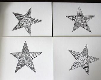 Zentangle Star Card Set, Zentangle Star Note Cards, Blank Greeting Cards, Blank Zentangle Star Notecards, Handmade Card Set