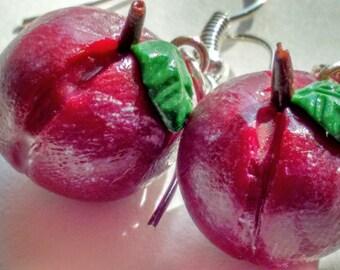 Plum Earrings - Miniature Food Jewelry - Fruit Jewelry, Gifts for Foodies,  Inedible Jewelry, Kid's Jewelry, Clay Fruit Earrings, Fake Food