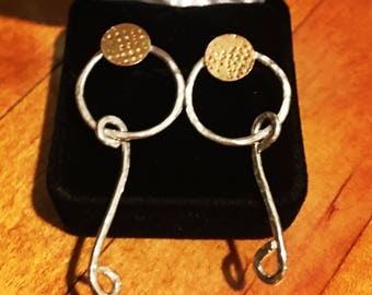 """Sterling silver 925 earrings with brass disc accents with """"S"""" dangle wires. One of a kind design, hand made"""