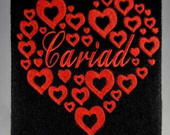 Welsh Valentines Card-Cariad. Handmade embroidered design with matching insert and envelope