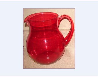 Red Acrylic Pitcher, Clear Red Retro Pitcher, See Through Plastic Drink Pitcher