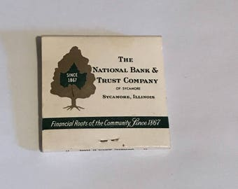 Vintage 1967 Match Book, Centennial Anniversary Advertisements, The National Bank & Trust Company, Sycamore, Illnois